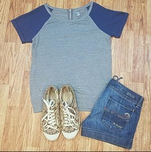 Aerie Soft T Sheer Sleeves Exposed Zipper XS Grey
